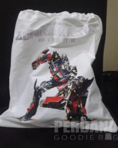 tas ultah transformers bahan drill - perdana goodie bag