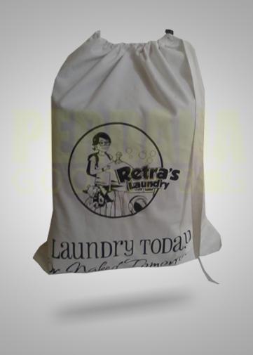 drawstring bag custom laundry retras untuk klien di jogja