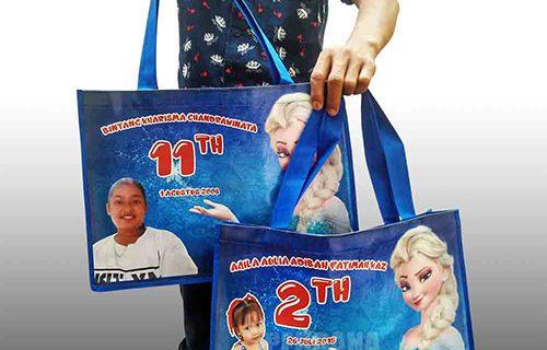 Goodie Bag Karakter Frozen Bahan Printing Untuk Klien Di Jawa Tengah