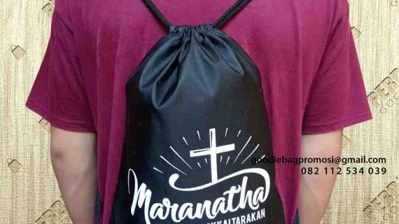 contoh drawstring bag serut anti air marantha by Perdana