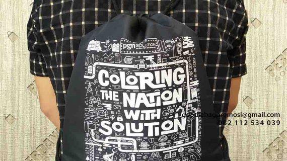 Drawstring Bag Custom Murah Pesanan Klien Komplek Perkantoran PGN Jakarta Barat